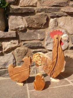 Holz Hühner, Deko Hühner