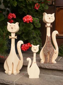 Holz Katzen, Deko Katzen, Kätzchen aus Holz